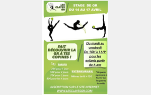 Inscription stage d'Avril 2020